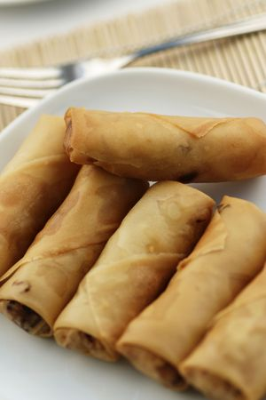 Fried spring rolls or Popiah, a popular Malaysian snack photo