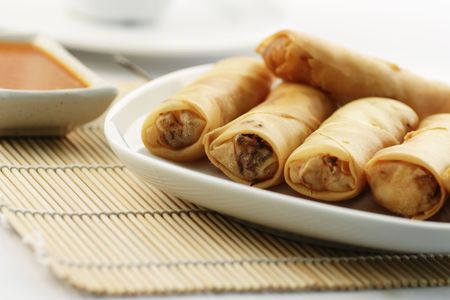 A plate of fried spring rolls or Popiah, a popular Malaysian snack