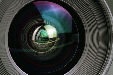 Macro-opname van een cameralens Stockfoto