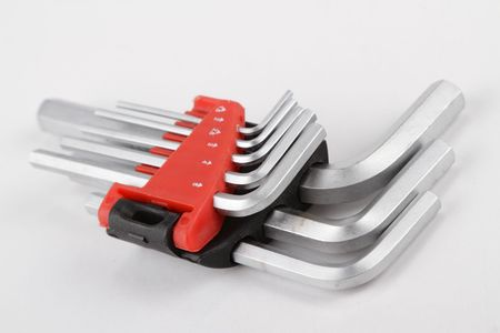 hex key: A set of hex key tools isolated on a white background Stock Photo