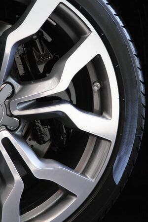 Close-up of a sports rim and tire Stock Photo