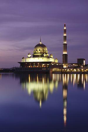 Putrajaya Mosque at dusk, located in Putrajaya Malaysia.