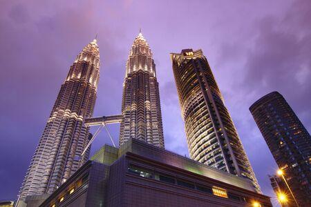 Kuala Lumpur skyline at dusk as viewed from KLCC Park Editorial