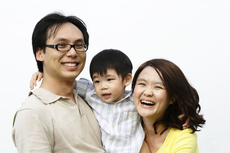 chinese family: Portrait of a happy Asian family
