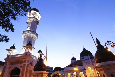 blue mosque: Front view of the Kapitan Keling Mosque in Penang