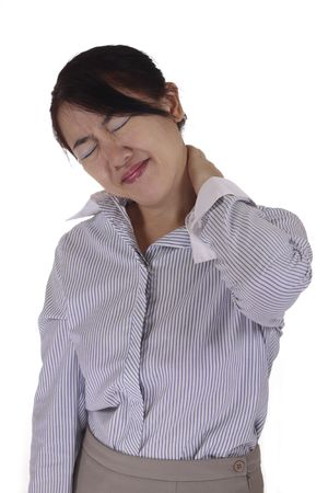 grimacing: An Asian woman grimacing from neck pain