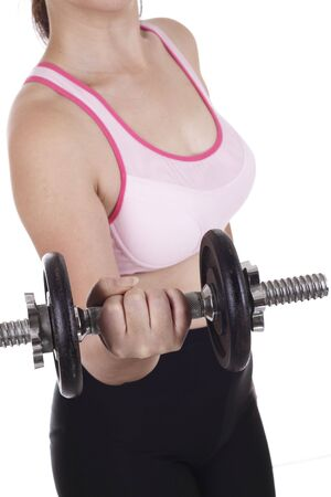 An Asian woman lifting a dumbbell photo