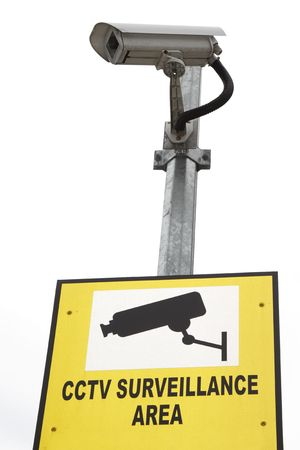 A security camera with a signboard Stock Photo - 8145298