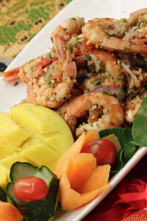 garnishing: A dish of spicy prawn with garnishing