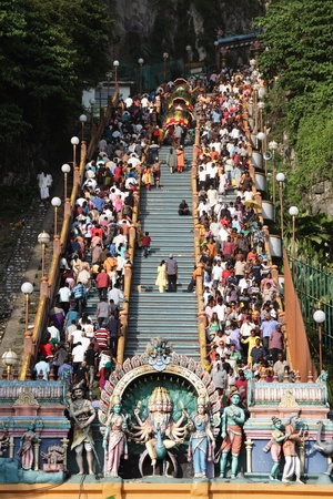 BATU CAVES, MALAYSIA - JANUARY 20:The crowd on the stairs leading to the temple during the Hindu festival of Thaipusam on January 20, 2011 in Batu Caves, Malaysia.