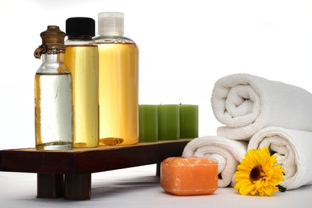 Spa oils, candles, towels and other spa products photo