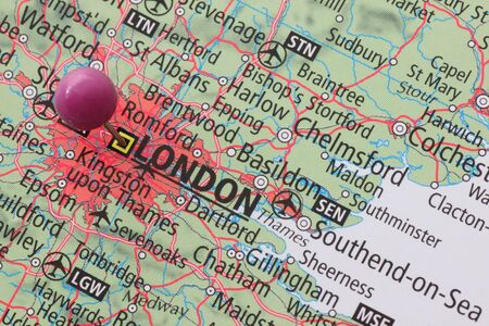 map pin: Location of London on a map with a pin Stock Photo