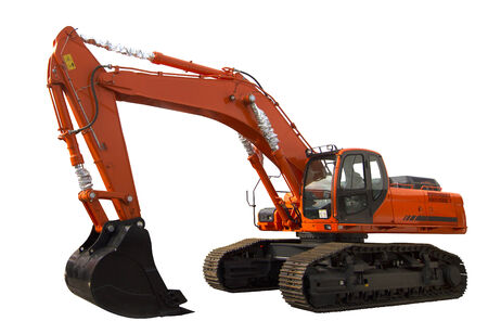 digger: Excavator isolated on white background. Clipping path included Stock Photo