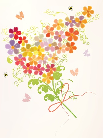 violet red: Bunch of beautiful spring flowers with bees and butterflies Illustration