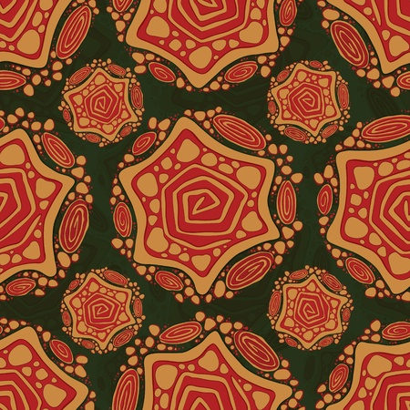 red rug: Seamless pattern with abstract tribal figures on green background Illustration