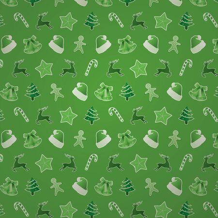 Green Christmas Seamless Pattern photo