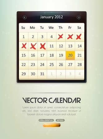 days of week: Vector Calendar Illustration