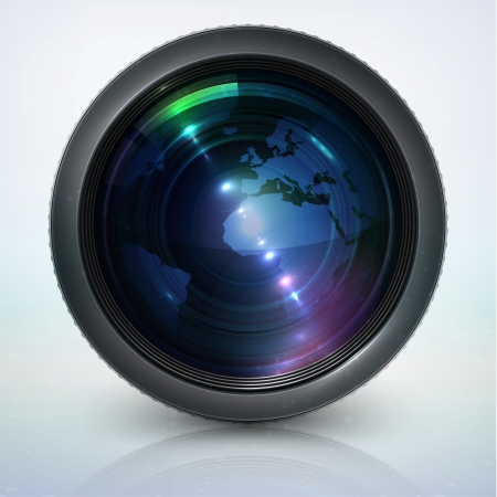 photographic: camera lens with globe