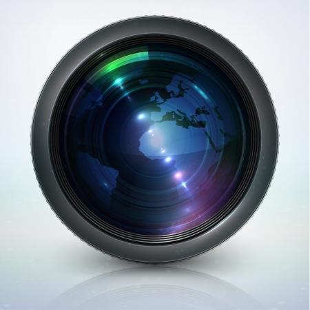camera lens: lens van de camera met bol Stock Illustratie