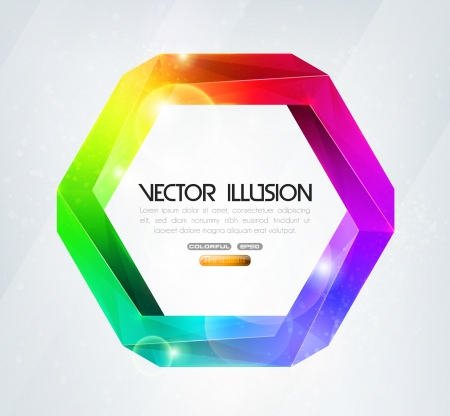 Impossible figure  Colorful illusion  Vector