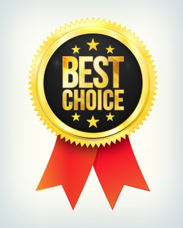 best choice golden label with ribbons