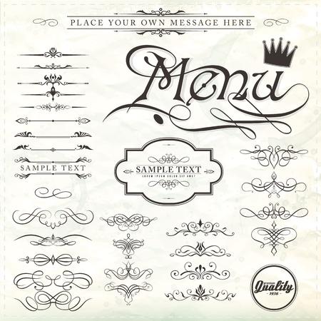 elementi di design e decorazioni calligrafiche pagina