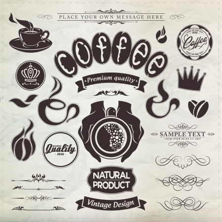 coffe beans: calligraphic design elements and page decoration