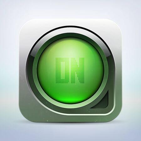 metallic glossy power button Stock Vector - 14732815