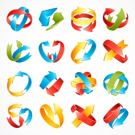 3d arrows set  vector illustration Stock Vector - 15490841