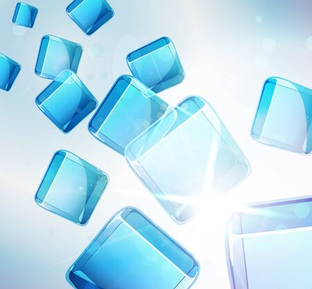 ice cubes: abstract background  falling blue cubes