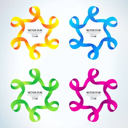 Colorful ribbon stars set. vector illustration Stock Vector - 16732002