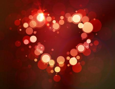Shiny heart bokeh light Valentine s day Vector