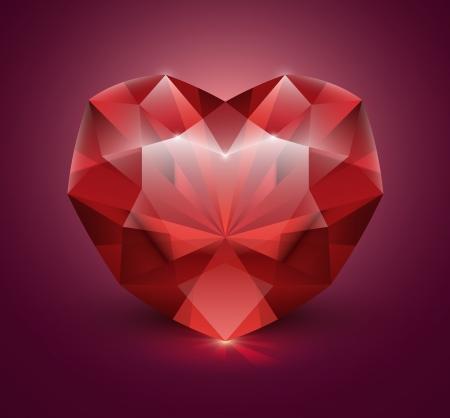heart diamond: Heart shaped gem stone Illustration