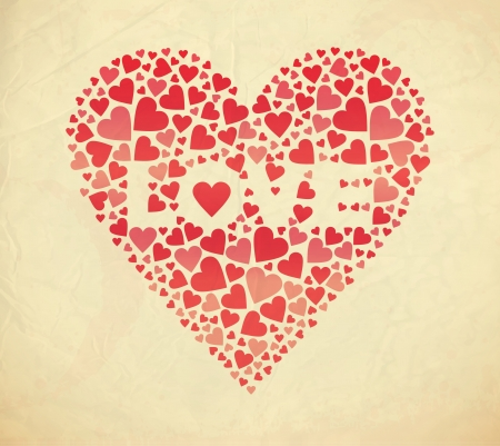 Retro Valentine card  Vector illustration Illustration