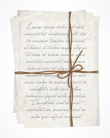 written text: Vintage tied letter with calligraphy text
