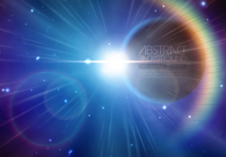 purple stars: Solar eclipse background with stars and lens flare Stock Photo