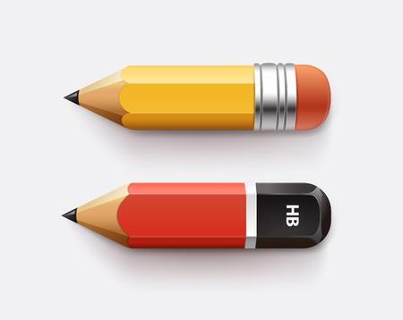 sharpened detailed pencils isolated on white  Illustration