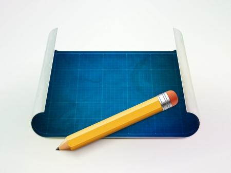 blueprint and pencil illustration
