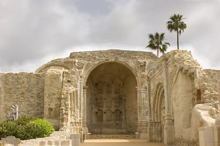 Ruins of Great Stone Church at Mission San Juan Capistrano destroyed by earthquake in 1812.