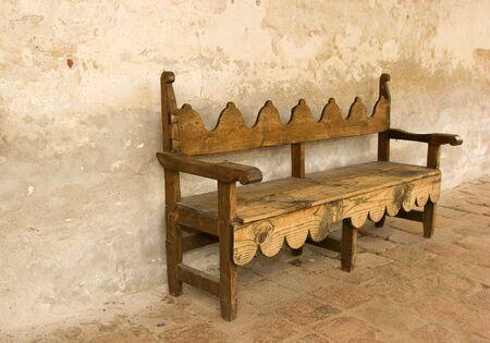 Old bench at Mission San Juan Capistrano
