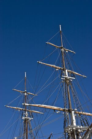Masts on a tall ship in California Stock Photo
