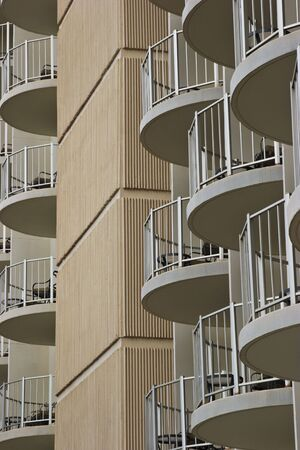 Multiple balconies on a multi-story hotel