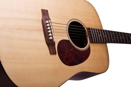 Acoustic Guitar isolated on a white background Imagens