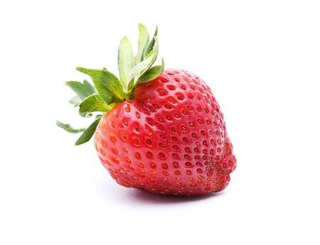 Single strawberry isolated on a white background Stock Photo