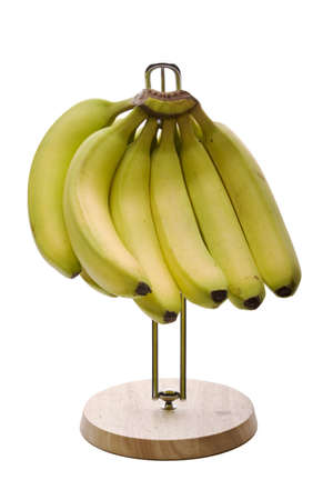 Ripe bananas on a hanger isolated on white