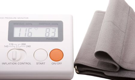 Home blood pressure device on white background Stock Photo