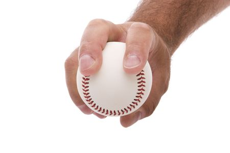 demonstrating the two seam fastball grip on a baseball Stock Photo - 4889473