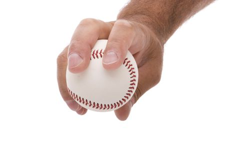 hand grip: demonstrating the four seam fastball baseball grip Stock Photo
