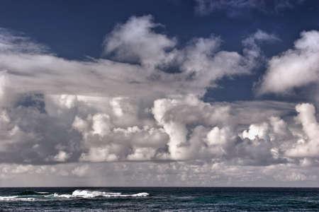 Cloud covered ocean near Poipu, Kauai, Hawaii