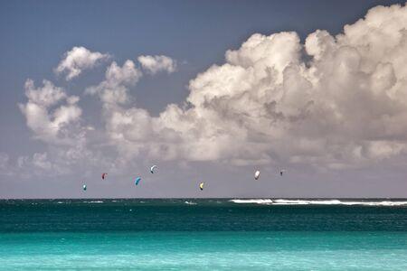Kite surfing on the north side of Kauai, Hawaii
